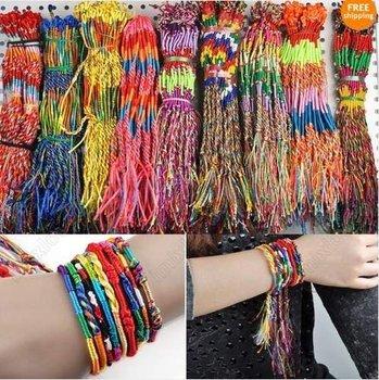 108PCS Wholesale Jewelry Lots Colorful Braid Friendship Cords Strands Bracelets