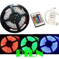 LED Strip Light 5050 RGB 60 LED/M 300LED 5M SMD non waterproof Ribbon Flexible 12V+24 key RGB Controller Free Shipping 1set/lot