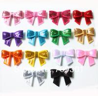 Free Shipping  wholesale mix colors 72pcs/lot sequin Bow Knot Applique 14 colors instock
