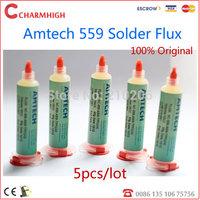 Free Shipping, 5pcs/lot Amtech 100% original BGA solder Paste Solder flux Lead-Free (559) 10cc, no clean flux, bga flux