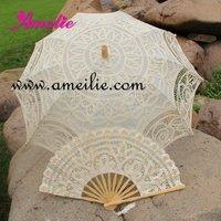 Bridal Umbrella  And fan Lace Parasol Wedding Set