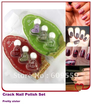 24 Colors !! FREE SHIPPING +3 pcs/set Crackle crack nail polish set wholesale & Retails ITEM NO 1204272