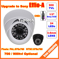 Special offer 1/3'' Sony Effio-e 700tvl 24leds with OSD menu indoor dome Camera free shipping