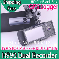 Free Shipping-- Dual Camera Car Dvr with External Cameras + GPS Logger + G-sensor + Motion Detection + Full HD 1920 X 1080P H990