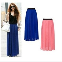 candy colors hot sell soft chiffon long skirt bohemian  pleated 95cm length  fashion woman long skirt  free ship factory price