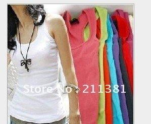 cotton long T-shirt Free shipping quality guarantee Mix Colour hot vest 12 pics stock Available women Tanks SZJ01