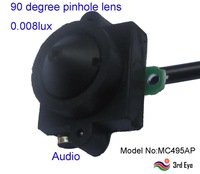 90 degree pinhole lens Audio video free shipping 0.008lux night vision 520TVL cctv camera MC495AP