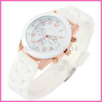 1pcs Unisex Geneva  Fashionable Luxury  Silicone Crystal Jelly Gel Quartz Analog Sport Wrist Watch wholesale Dropshipping