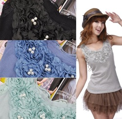 Free shipping Hot Sale!!! Factory 8 colors Fashion lady's high quality lace and pearl roses vest rib cotton tank top - T099(China (Mainland))