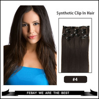 Hot selling Synthetic clip in hair extension Kanekalon high temperature fiber hair 7pcs 100g 1set 18 20 22 24 inch #4 brown