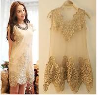 2014new fashion spring summer gauze patchwork vest lace crochet dress yarn Stitching transparent taste sexy cute dress