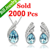 Free Shipping Tear Drop Sky Blue Rhinestone Crystal Necklace Set Fashion Female Necklace Earrings Bridal Jewelry Sets 3 colors