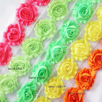 "2.5"" frayed chiffon shabby flower 150 yards(52 solid colors for selection)FREE SHIPPING BY DHL"