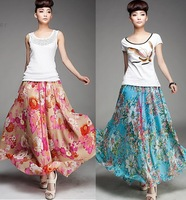 Free shipping summer maxi fashion skirt lined ruffle floral printed skirts womens 2014 with belt