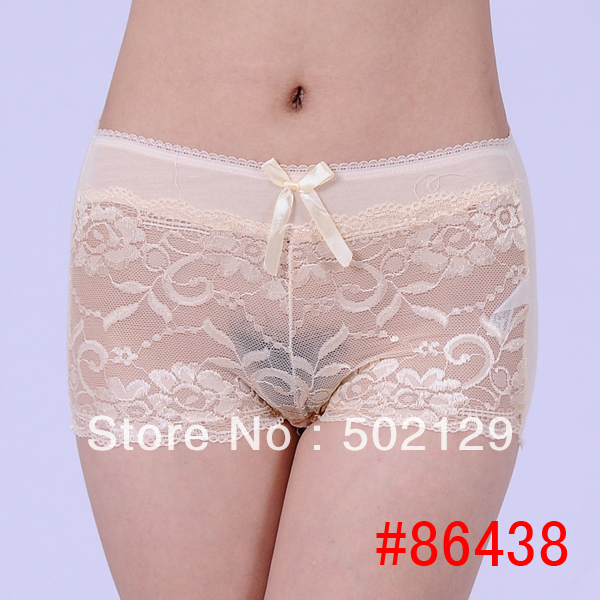 Free shipping high waist pretty laced bamboo fiber cotton boyshort hot lingerie temperament intimatewear 120pcs/lot(China (Mainland))