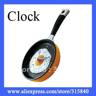 1pc Creative Fried Eggs Pot Wall Clock Fried Eggs Pan Shaped Clock Kitchn Fried Egg Design Wall Clock-- CLK06 Free shipping