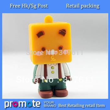 Free Shipping cute box zhang 100% real capacity usb disk pvc doll usb flash drive key Free packing