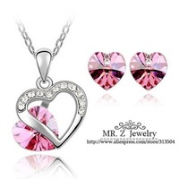 Free Shipping Loved Heart Necklace And Earring Set Austrian Crystal Jewelry Sets For Women Wholesale Lots