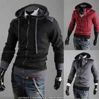 2014 Fall  New Hot High Collar Coat Zipper Fly Top Brand Men's Winter Coat South Korean Solid Hoody Cardigan Outerwear M-XXL