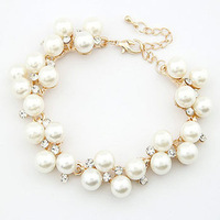 12pcs/lot Free Shipping Bridal Imitation Pearl Jewelry Bracelets with Crystals for Wedding Pearl Necklace Bracelet Earring Set