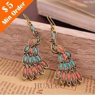 Fashion Jewelry 2014 Vintage Bohemian Colorful Peacock Drop Earrings E37