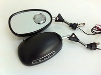 Free shipping(2 sets)+wholesale+mp3 and FM reaview mirrors used on motorcycle in black color