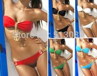 2014 New Sexy Anchor Metal Pendant Women Swimwear  Padded Bra Beach Wear Push Up Bikini Set  biquini de franja