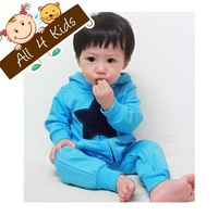 Hot sale 2013 baby kids STAR romper boys blue hooded long sleeve romper toddlers zipper cotton casual jumpsuit free shipping