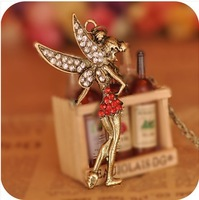 FreeShipping Fashion Necklaces Women's Lovely Peter Pan Fairy Crystal Pendant Necklaces Sweater Necklace Jewelry Hot Gift