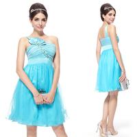 HE03289BL One Shoulder Flower Blue Ruffles Rhinestone Cocktail Dress