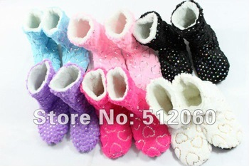 FREE SHIPPING (1pair)  Fashion Women's Glitter Shinning Christmas Shoes, Indoor boots, warm slippers, Winter Foot Warmer,6Colors