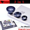 1sets,Detachable 0.67x Wide Angle Lens Macro lens Fisheye lens,maganetic adsorption 3 in 1 Lens for iPhone 4/5 Samsung