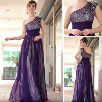 Dorisqueen hot sale 2014 new arrival elegant one shoulder floor length tulle beading applique sexy purple long  evening dress