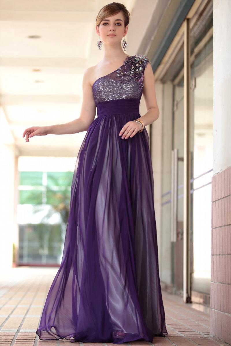 Dorisqueen freeshipping 2014 new arrival dress one shoulder floor length tulle beading applique purple long  evening dress