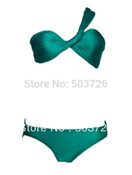 Brand New Single Shoulder Sexy Swimwear Women Wrinkle Design Bathing Suit Sexy Swimsuit Hot Lady Bikini Set Free Shipping