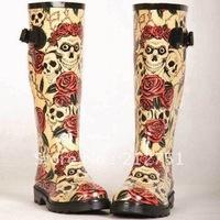 New 2014 Rose Skull Women Rain Boots,Rubber Boots Rose Skeleton Head Sexy Cool Sapatos,Rainboots Botas Femininas Plus Size 40