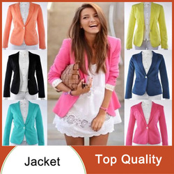 2013 spring new women fashion high quality candy color casual one button blazer slim lady&#39;s foldable sleeve jacket 5 sizes #7574(China (Mainland))