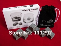 Whisky Stones, 9pcs/set with delicate box+velvet bag whiskey rock stone cube stone Free shipping
