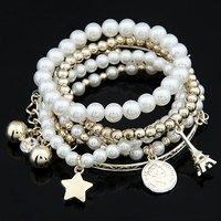 [Mix 15USD]  Promotion Gift Ladies Fashion White Pearl beads Eiffel Charm Multilevel Bracelet Bangle
