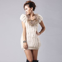 12020138 Knitted Real rabbit fur vest raccoondog fur collar unique hollow out design in-fashion