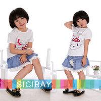 Retail New Cartoon I LOVE Kitty design T shirts Girls Summer Tops baby clothing children short-sleeve T-shirt Girl K0354
