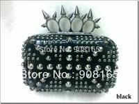 free shipping 2013 new pu punk rivet lady party handbags/evening clutch bags flat chain handbag