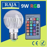 AC 100-240V RGB LED Lamp 9W E27 led Bulb Lamp with Remote Control led lighting free shipping