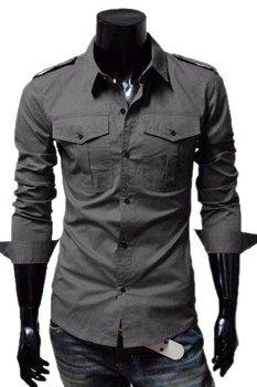 Hot Sale Free  shipping Men's shirts Long sleeve Three colors  Shoulder knot  S,M,L,XL, P682