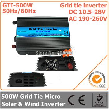 500W Grid Tie Inverter, 10.5-28V DC to AC 190-260V Pure Sine Wave Inverter Suitable for  500-600W 18V PV Module or Wind Turbine