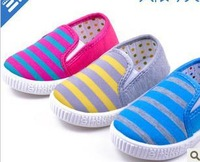 Free shipping Children shoes cotton-made shoes child stripe canvas shoes (14cm-16.5cm)