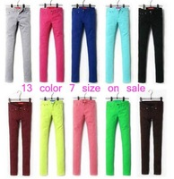 Womens  Girls   candy color pencil pants feet pants casual skinny jeans trousers 13 color 7 size
