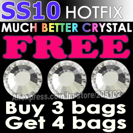 Promotion! SS10 1440pcs/Bag Clear Crystal DMC HotFix FlatBack Rhinestones trim strass,DIY iron heat glass Hot Fix crystal stones(China (Mainland))