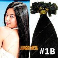 100strands/lot 16-26inch Remy Human Hair Keratin/Nail Tip Hair Extension #1B Natural Black 40g,50g,60g,70g/pack
