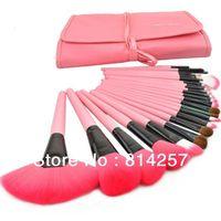 Professional 24 PCS Makeup Brush Set Make-up Toiletry Kit Wool Brand Make Up Brush Set Case free shipping